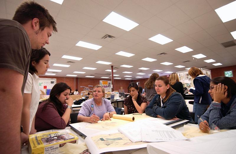 Architecture students at work. Courtesy of UTSA.