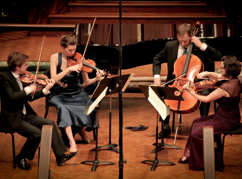 Matthew Zerweck, Anastasia Storer, Ken Freudigman, Emily Freudigman perform at Christ Espiscopal Church for the 2013 Brahms Festival. Courtesy of Camerata.