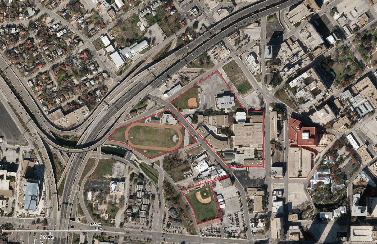 An aerial view of the project site, just northeast of downtown San Antonio. Courtesy rendering from Centro Alliance.