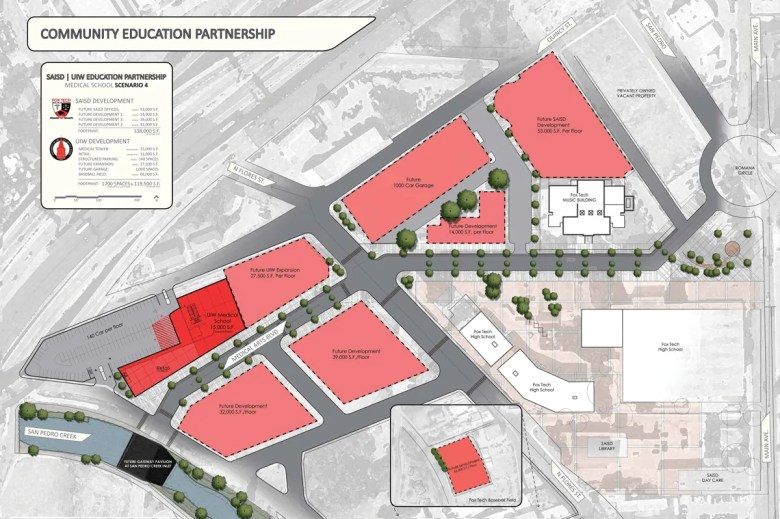 Courtesy rendering of the proposed medical school project site.