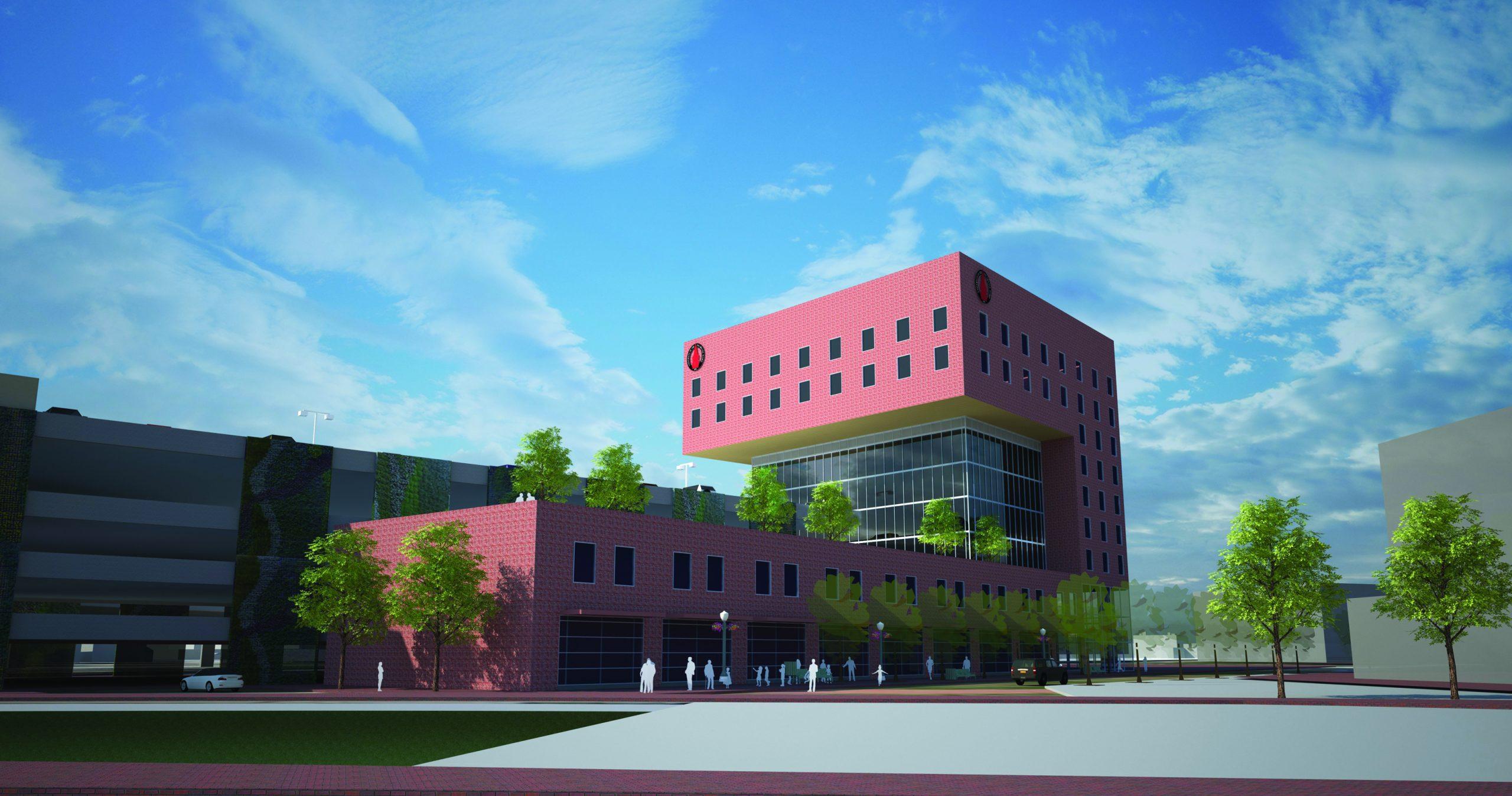 Rendering of the proposed medical school. Courtesy of Centro Partnership San Antonio..