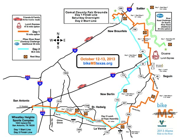 The 2013 BIKE MS route map.