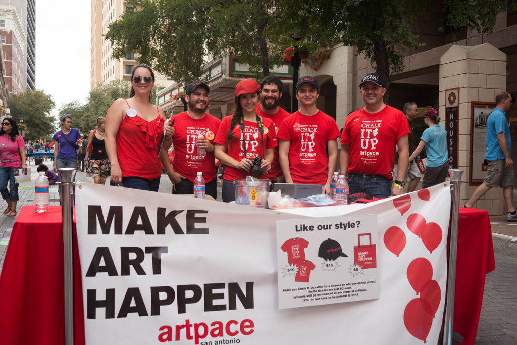 Artpace staffers and volunteers who make Chalk It Up happen. Photo by Todd Johnson.