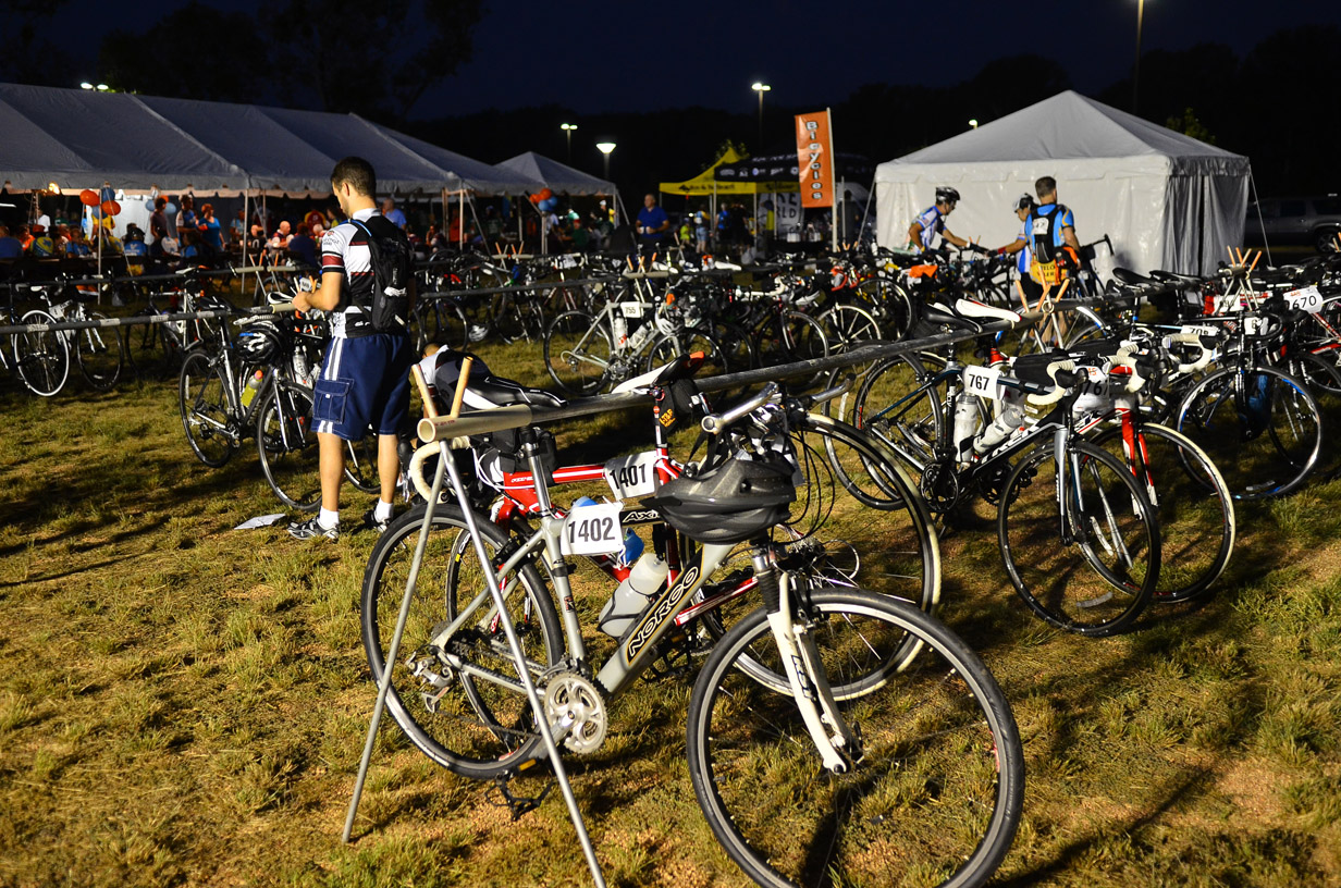 The pre-dawn sea of bikes at the Wheatley Heights Sports Complex was impressive. More than 1,100 riders started this year's Bike MS: Valero 2013 Ride to the River. Photo by David Rangel.