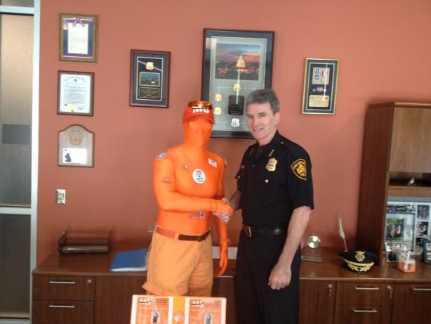 Tony visist SAPD Chief Wililam McManus in a full-body orange 'morph' suite – just because. Courtesy photo.
