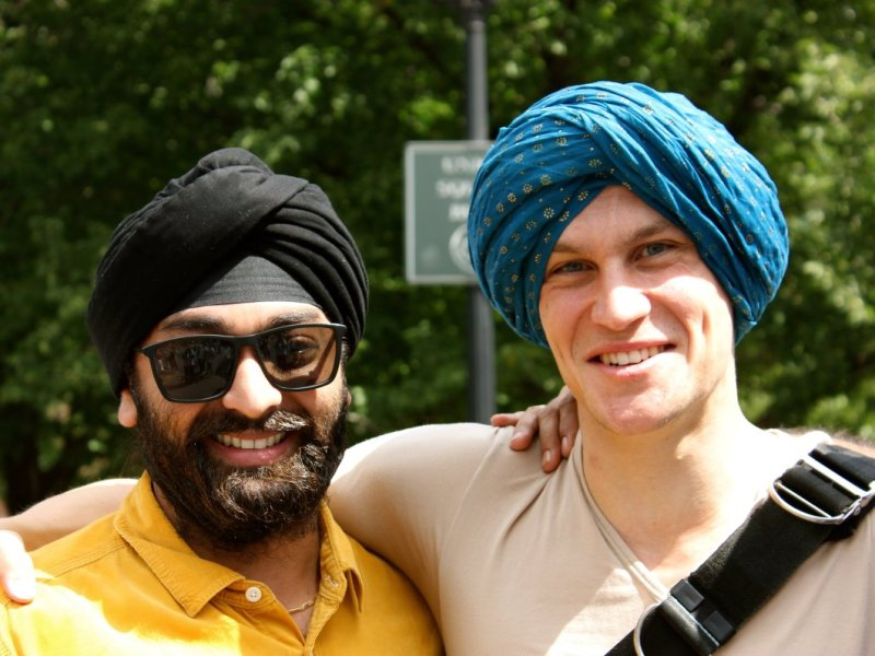 The Sikh Surat Initiative organized its first Turban Day at Union Square in New York City in September to challenge the turban stereotype. Photo courtesy of the Surat Initiative.