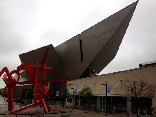 Even on a rainy day, the Denver Art Museum makes a dramatic statement. Photo by Robert Rivard