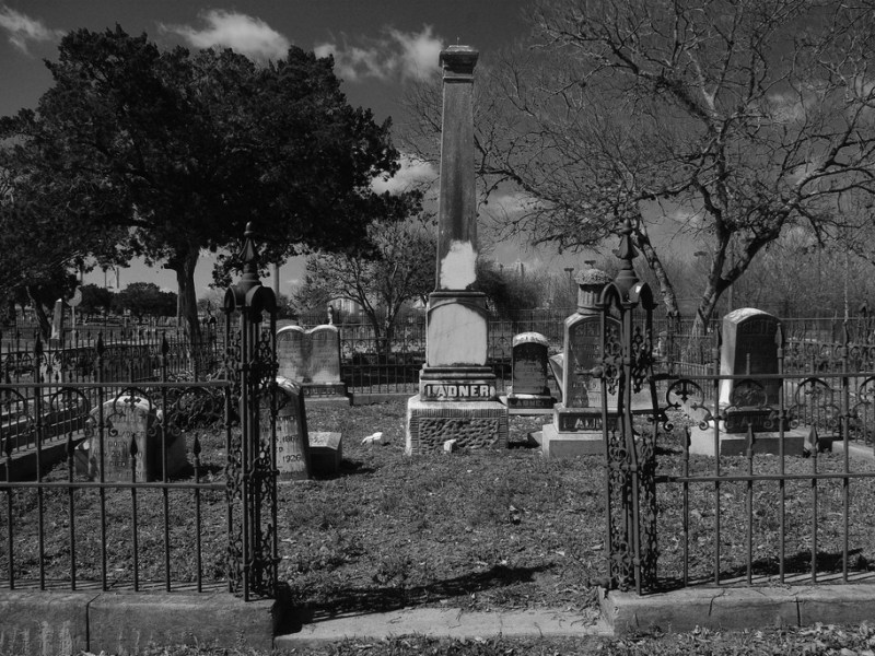 A gated Eastside Cemetery plot. Photo by Juan Garcia.