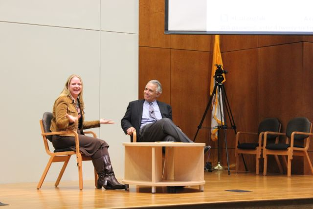 Children's mental health advocate Liza Long and moderator Robert Rivard during the Q&A portion of the One in Five Minds event. Photo by Sarah Hedrick.