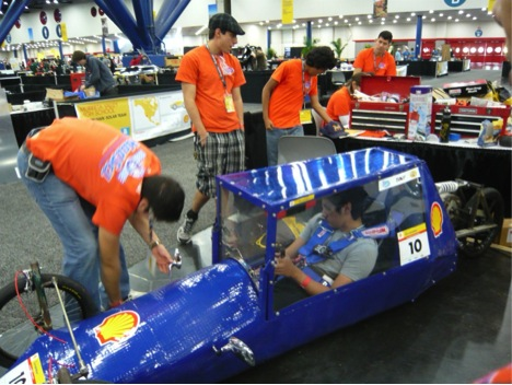 Madison High School students at the Shell Eco-Marathon make some adjustments to Volta before the race. Courtesy photo.