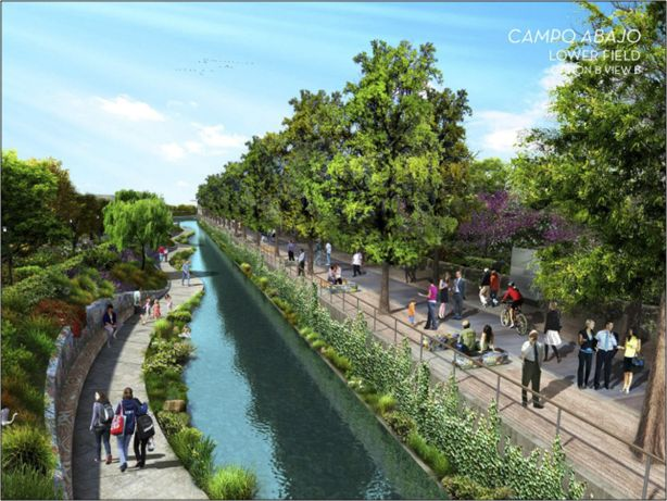 Rendering of what a 1.5 mile ecosystem restoration might look like in 2018 on San Pedro Creek. Courtesy illustration.