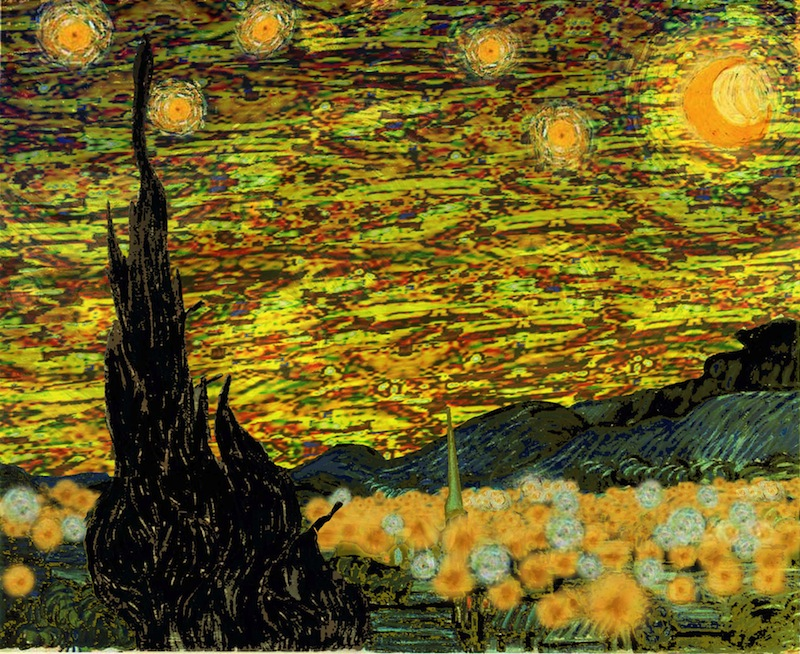 """Astronomer Bill Wren's photoshopped rendition of Van Gogh's iconic """"Starry Night"""" if painted today. Image courtesy of Bill Wren."""