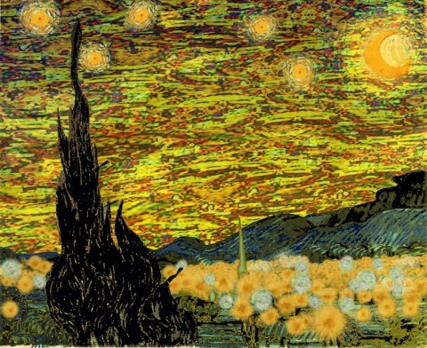 "Astronomer Bill Wren's photoshopped rendition of Van Gogh's iconic ""Starry Night"" if painted today. Image courtesy of Bill Wren."