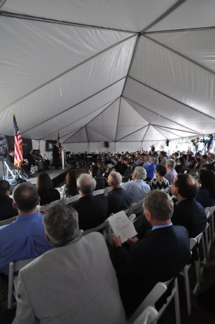 Approximately 300 people attended the ceremony at Brooks City-Base commemorating the 50th anniversary of JFK's visit. Photo by Annette Crawford.