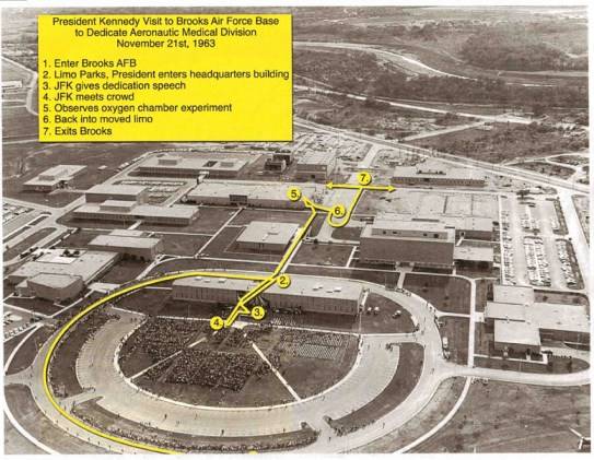 """This photo is an aerial image taken at Brooks Air Force on Nov. 21, 1963. The creators of the documentary, """"JFK: The Final Hours,"""" created the overlay based on the timeline for the president's visit. The number 1 is cut off at the bottom of the photo, where the JFK's motorcade entered the base. The arrows at number 7 go in both directions because officials are unclear which direction the motorcade left the base. Image courtesy of Wyle Science, Technology & Engineering Group"""