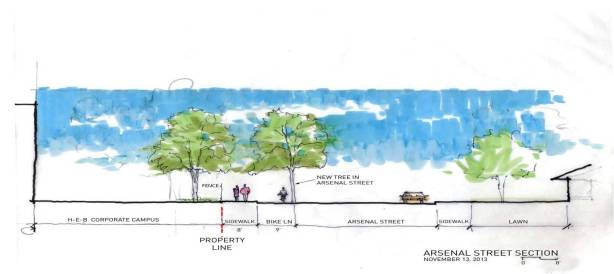 Section of E. Arsenal Street illustrating the 17-foot amenity path which includes space for pedestrians, trees, and a dual-directional bike lane. Rendering courtesy of Lake/Flato Architects.