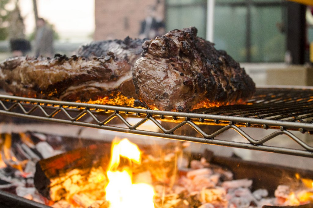 Charring meat from Chef Tim Rattray of The Granary in San Antonio.