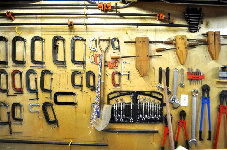 One of several walls lined with tools in Bill FitzGibbon's Lone Star Studio. Photo by Iris Dimmick.