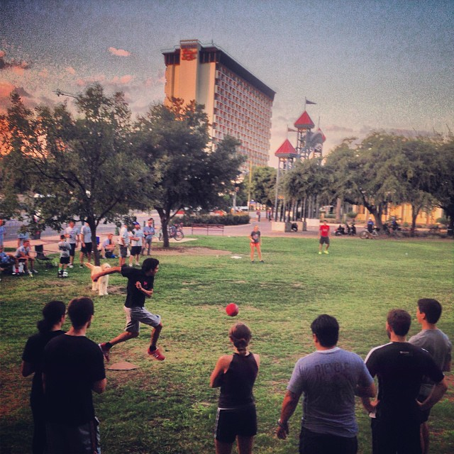 Downtown Kickball in the beautiful Hemisfair Park. Photo courtesy of Kevin McCullough.