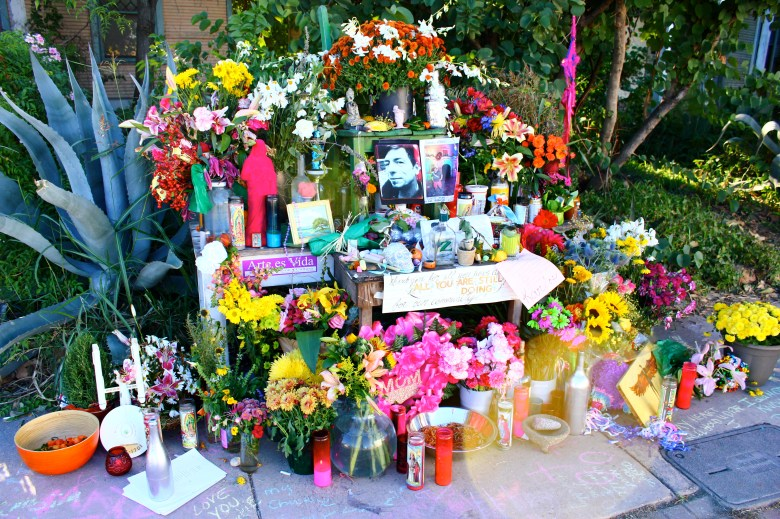 The day after his accident, a makeshift memorial sprung up near the accident site on S. St. Mary's St. featuring flowers, artwork, and messages of love and remembrance.