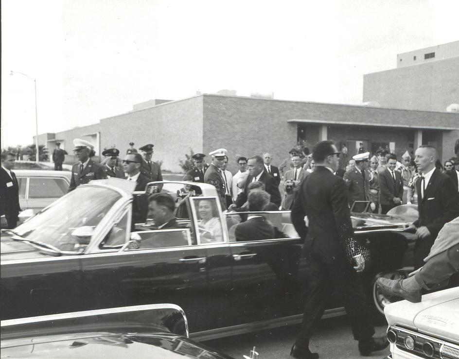 Pres. Kennedy arrives at Brooks AFB. Photo courtesy Brooks City-Base.
