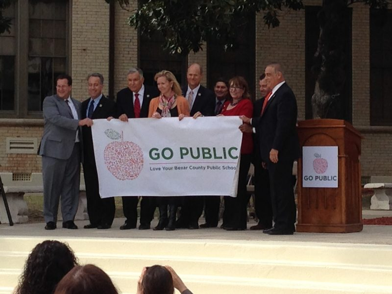 Bexar County Superintendents and Go Public campaign tri-chairs officially launch the public school success awarness campaign at Jefferson High School. Photo by Bekah McNeel.