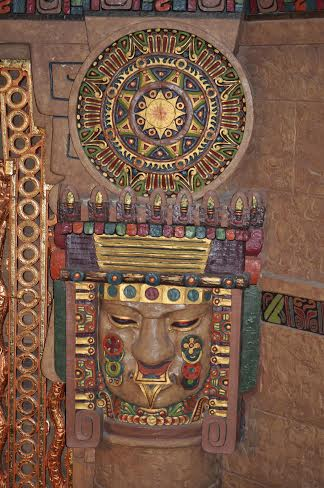 Detail of the Aztec Theatre's Meso-American interior designs. Photo by Annette Crawford.