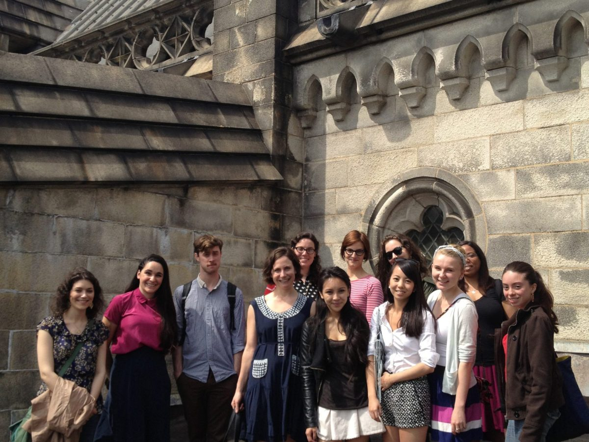 Ann Labatt's class photo on the roof of the Cathedral of St. John The Divine, New York. Courtesy photo.