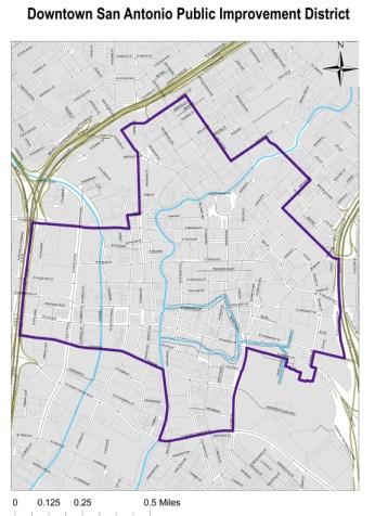 Downtown San Antonio's Public Improvement District. Click map to enlarge.