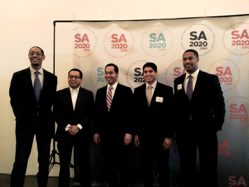 SA2020 President and CEO Darryl Byrd, District 1 Councilman Diego Bernal, Mayor Julián Castro, District 4 Councilman Rey Saldaña, and SA2020 Volunteer Leader Brandon Logan pose for a photo at the Resolution Leader launch. Photo by Iris Dimmick.