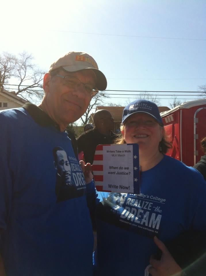 Poets Chris Billings and Susan Salzman at the 2014 MLK Day march in San Antonio. Photo by Betsey Garland.