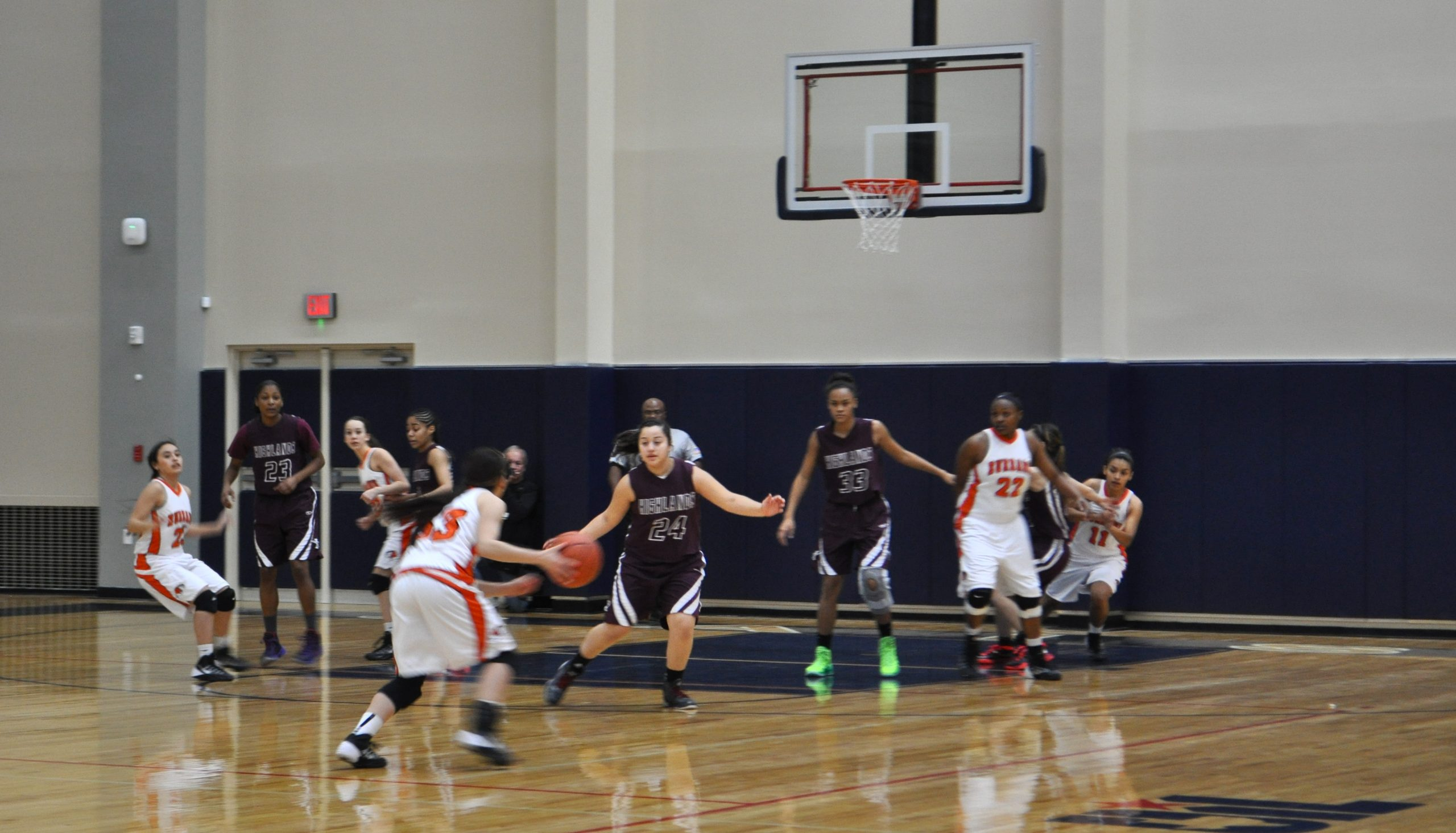 The first game held in the newly-renovated Alamo Convocation Center, Highlands vs Burbank girls Varsity basketball. Photo by Iris Dimmick.