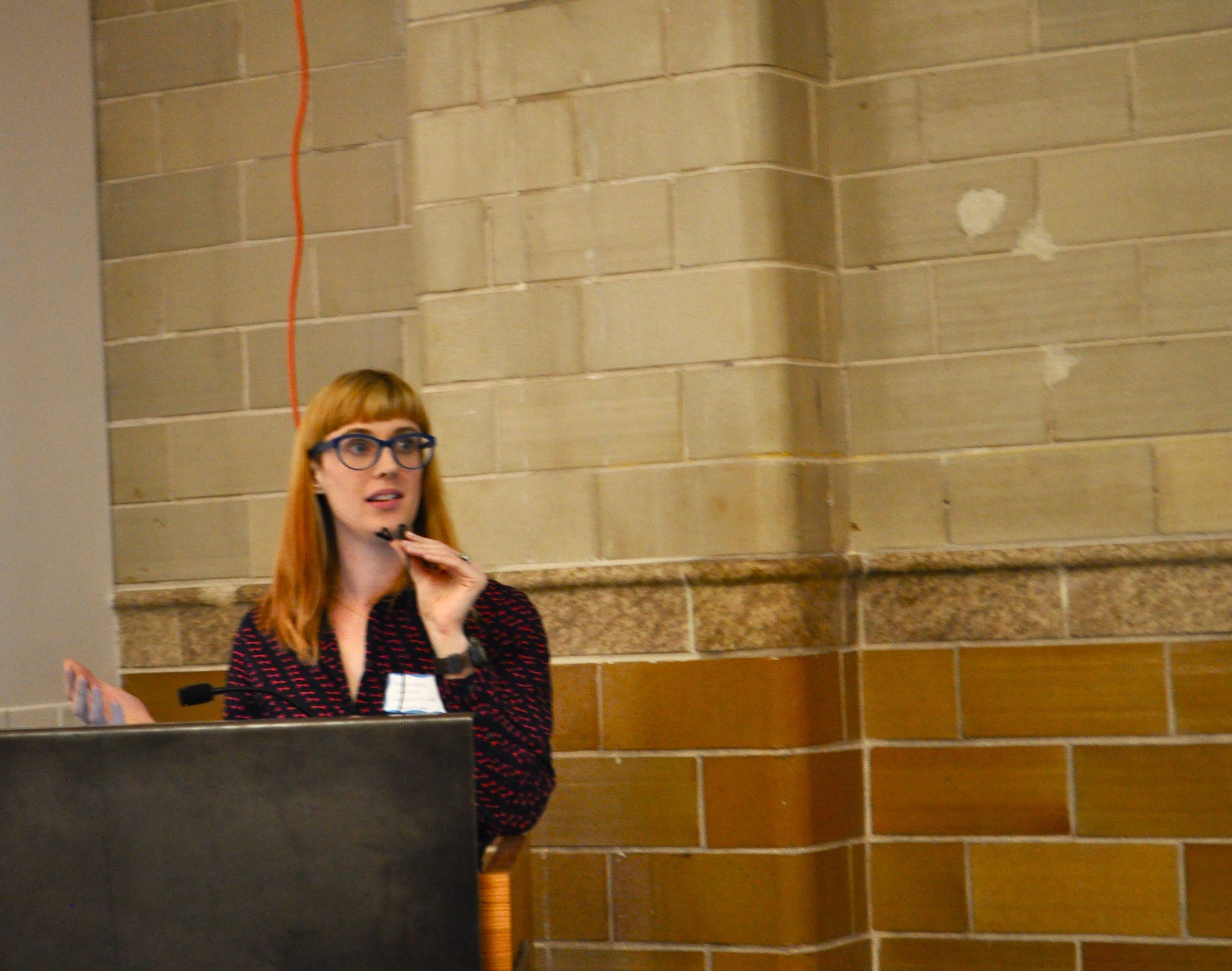 Heather Holdridge, Lake/Flato Architects sustainability manager, outlines the San Antonio 2030 District plan. Photo by Iris Dimmick.