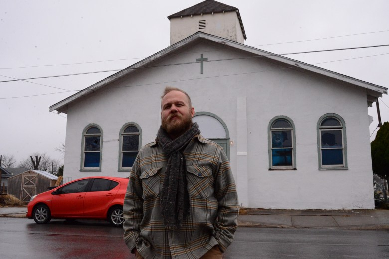 Chris Sauter at his East Side studio, formerly a church building. Photo by Page Graham.