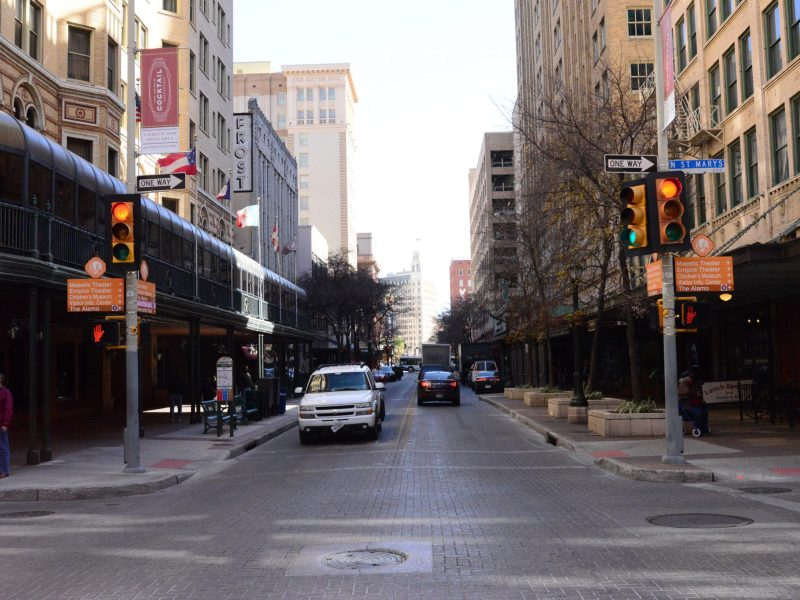 Widened sidewalks may have seemed like a good idea at the time, but it has arguably served to constrain traffic and restrict on-street parking. Photo by Page Graham.