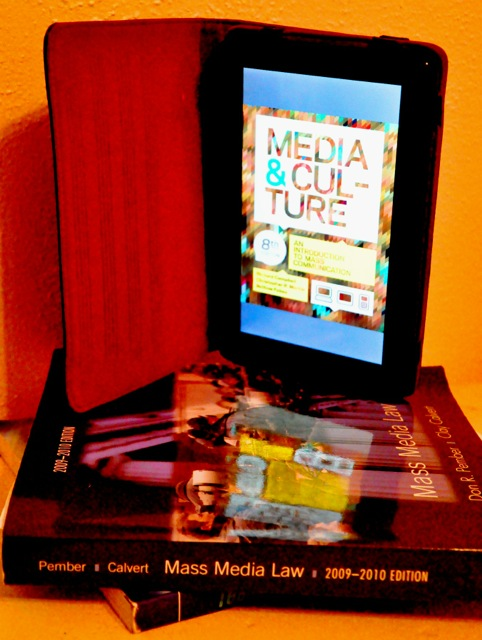 """Pictured on Kindle: """"Media and Culture: Mass Communication in the Digital Age."""" Photo by Sharon Armstrong."""