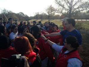 Paul Garro, City Year San Antonio Executive, and Congressman Pete Gallego inspire volunteers before the CYSA MLK Day of Service. Photo by Estefania Reichard Figueroa.