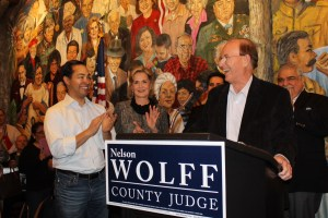 Mayor Julián Castro, stands beside Bexar County Judge Nelson Wolff (right) during his 2014 Demorcatic primary campaign launch. Photo by Ashley Dorfmeister.