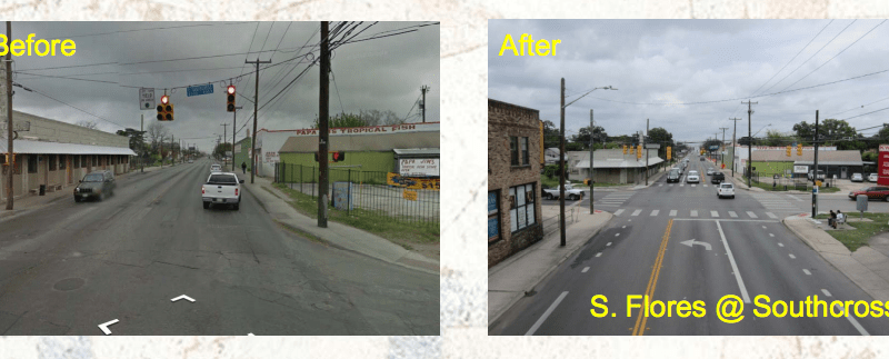 The South Flores and Southcross, an example of a priority two project. Existing street was not wide enough; therefore, a reduction in the number of vehicular traffic lanes was required to install bicycle lanes. Courtesy of the City of San Antonio.