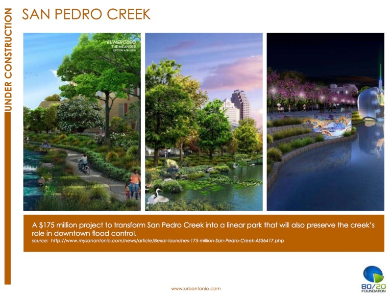 "San Pedro Creek project renderings in The 80/20 Foundation Report, ""San Antonio: Under Construction."""