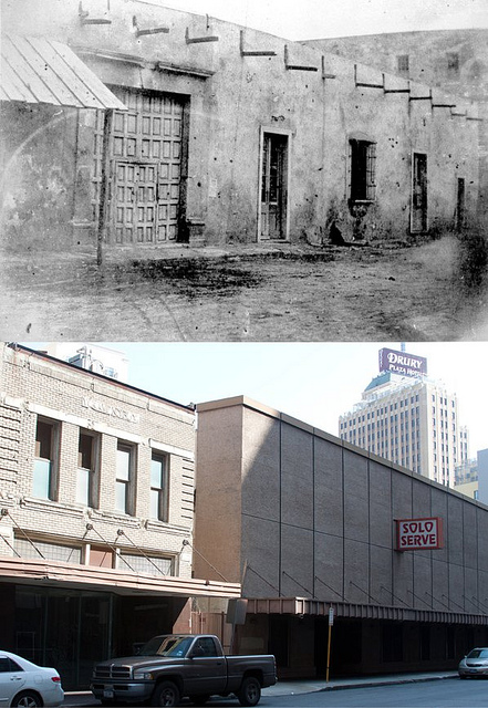 (Above) Veramendi Palace in 1860. The building was ultimately demolished to make way for a street widening project in 1912. The doors in the upper photo can still be found in the Alamo grounds. (Below) The now abandoned Solo Serve building now sits where the palace once was. Photo via Flickr user Paul Bubel.
