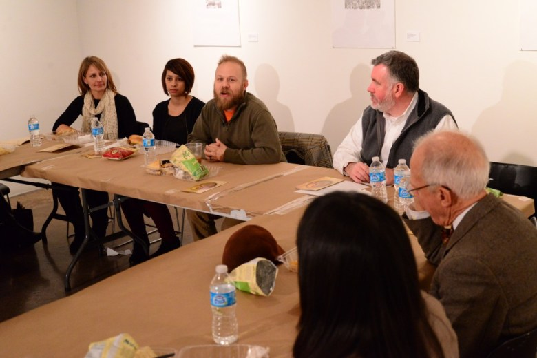 Chris Sauter (top, center) talks about his work at Blue Star Contemporary Art Museum's Black Box Lunch series. Photo by Page Graham.