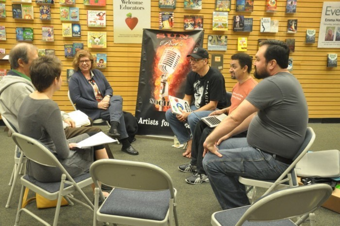 An unusually small group gathers for the Sun Poet's Society at the San Pedro Crossing Barnes & Noble. Author photo.