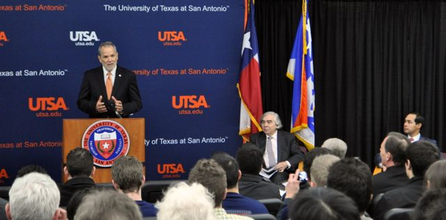 UTSA Texas Sustainable Energy Research Institute Director Les Shepard addresses the large audience gathered for U.S. Energy Secretary Ernest Moniz' town hall forum at UTSA's downtown campus. Photo by Iris Dimmick.
