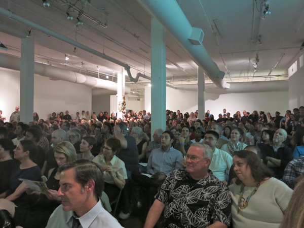 A full house at PK13 in the Blue Star Contemporary Art Center. Photo by Miriam Sitz.