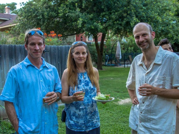 Bonham Middle School Science teacher and parent Mr. Jason Siptak, his wife Michelle Gorham, and fellow parent Frederic Allegrini enjoy the cocktails created by Michael Campbell at the King William Manor. Photo courtesy of Hugh Donagher.