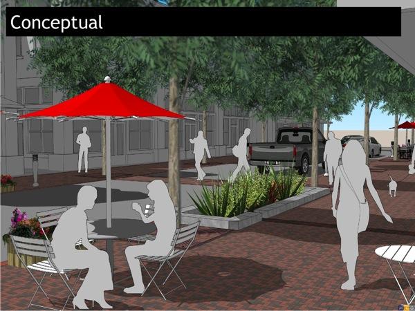 Complete street rendering for roads running through Hemisfair Park. Courtesy HPARC.