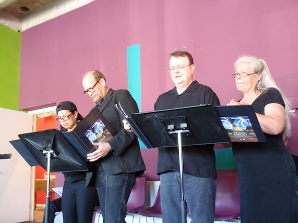 Erik Bosse and Company members at the preview reading at Gemini Ink - photo by Kevin Tobar Pesantez