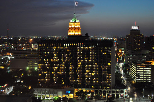 """""""Go Spurs"""" spelled out in hotel room balcony lights on the Hilton in downtown San Antonio. Photo by Annette Crawford."""