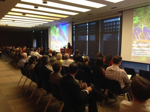 """Citizen Planning: The Philadelphia Story"" presentation at UTSA's downtown campus. Photo by Randy Bear."